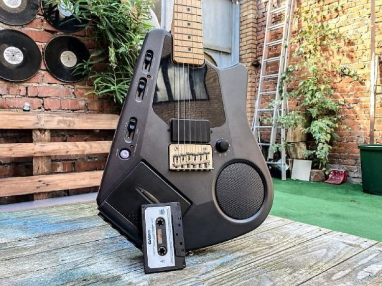 Check out this cool Japanese guitar from the 80s with a built-in cassette player