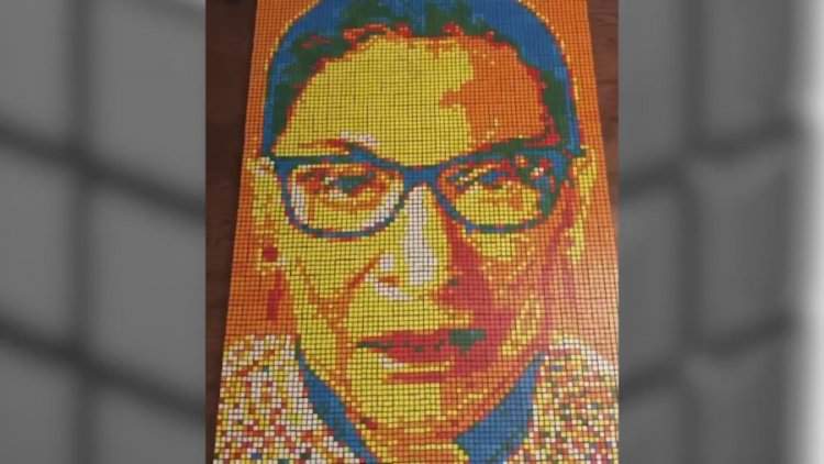 Couple uses Rubik's Cubes to make artwork of famous faces