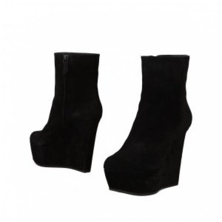 9020store Black Suede Platform Ankle Boots Wedge Booties with Zipper